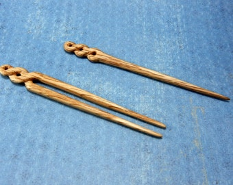 Celtic hair stick hair fork hair pin carved from oak wood