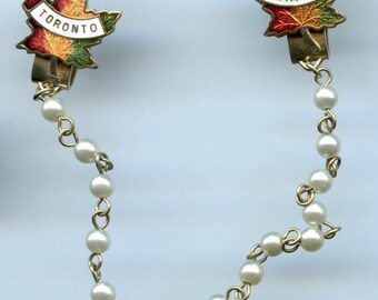 Enamel Toronto Canada Sweater Clips with Pearl Accents