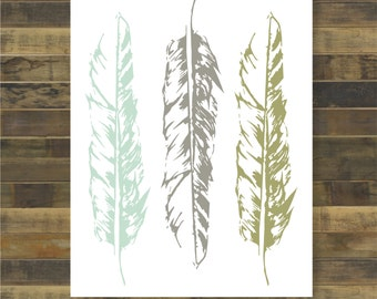 Triple feather in army, grey & mint.  Wall decor