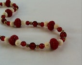 Unusual Red & White Chinese Style Necklace