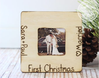 Newlywed Wedding First Christmas Married Personalized Rustic Engraved Picture Frame Christmas Holiday Gift
