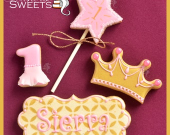 Princess Cookies in Pretty Pink and Gold (quantity: 12)