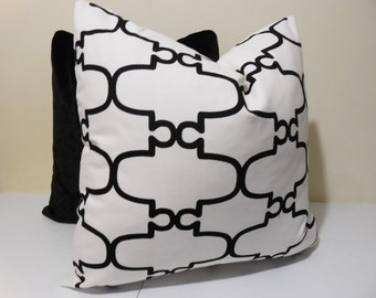 Duralee Matteo Pillow Cover-DecorativePpillow Cover - Black White Cushion- 18 x 18, 20 x 20, 22 x 22, 24 x 24, 26 x 26