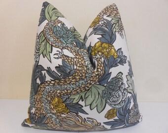 Robert Allen Ming Dragon in Midnight- Decorative Pillow Cover -  Accent Cushion- Sofa Pillow - Toss Pillow