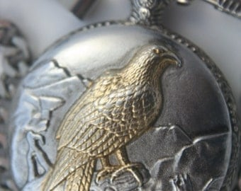 Raptor Pocket Watch • Quartz • by Sea Surfer Time Pieces • Free Shipping!  • Silver and Gold Case • Ready for Use