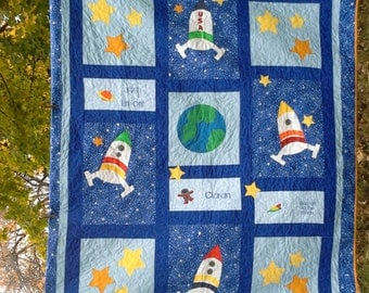 Custom Outer Space Theme Twin Full Queen Bedding Space Age Theme Boy Bedding Rocketship Bedding Toddler Space ship Customize Color