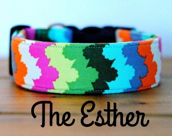 "Multicolor Abstract Striped Girly Dog Collar ""The Esther"""