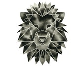 Lion Print Geometric Watercolor Print Modern Art Monochrome Artwork Safari Animal Print Black and White Art Geometric Print