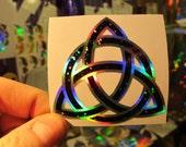 "Celtic Trinity Knot. Triquetra.  Sticker. Deep Space II Edition.  Wee 2.5"" Size.  Prismatic.  Rainbow Silver/ Black Sparkle vinyl.."
