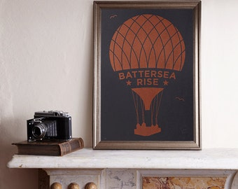 Battersea Rise A3 Screenprint / Battersea Power Station Screenprint, Hot Air Balloon Poster, Graphic Poster, Graphic Art