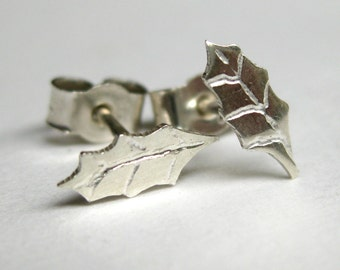 Sterling silver holly leaf post earrings