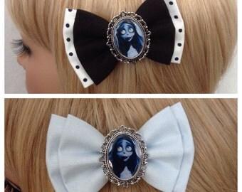 Corpse Bride hair bow clip rockabilly psychobilly kawaii kitsch pin up alternative fabric Tim Burton black white polka retro ladies girls