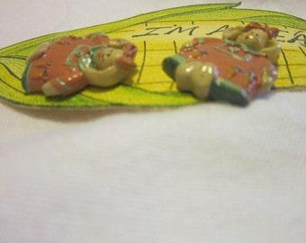 Vintage Handmade Im all Ears Rabbit Post Earrings