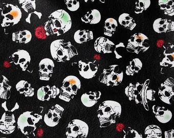 Black Faux Leather Skull Printed Fat Quarter Fabric