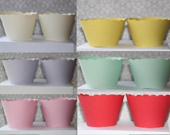 Cupcake Wrappers pink, red, blue, yellow, purple, cream, mint green