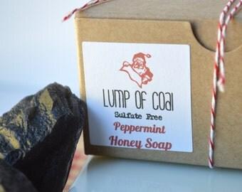 Lump of Coal, Peppermint Honey Soap Gift Set, Christmas Stocking Stuffer, Kids Gift