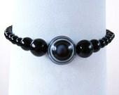 Black Bracelet with Eye Agate & Onyx Beads