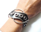 1940s Taxco Mexico Sterling Silver Bracelet  Chunky Cuff Oxidized Silver Designer Vintage Jewelry