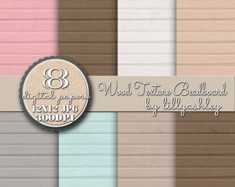 Wood Texture Beadboard Digital Paper Pack of 8--12x12 JPG-Wood Texture Beadboard Weathered for Backgrounds for Web Invites Cards Etc