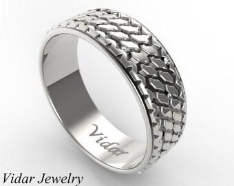 Tire Tread Wedding Band,Mens Wedding BandCustom Diamonds Tire Wedding Ring,Diamond Wedding Band,Two Tone Wedding Band,Tread Ring,Vidar