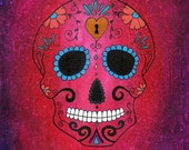 Sugar Skull ~ Original Painting, Dia de los Muertos, Day of the Dead Art by Gennifer Carragher