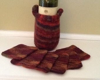 Hand knit Felted wool coasters