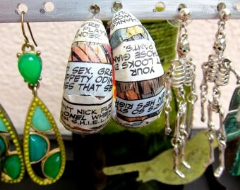 Round Decoupage Comic Book Page Earrings