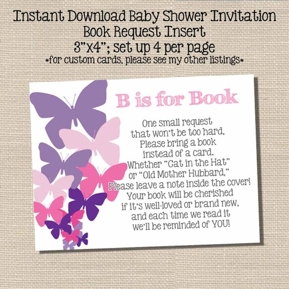 book request poem insert baby shower invitation butterfly theme