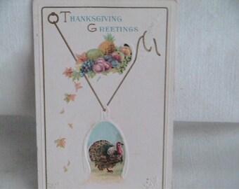 Thanksgiving Greetings Postcard Vintage Turkey Holiday Gift Greetings Paper Ephemera Antique