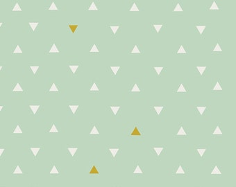 Baby Bedding Crib Bedding - Mint, White, and Metallic Gold Triangles