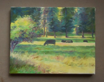 "Small original oil painting, ""Pasture in the Sunlight"", daydreaming, cows, meadow, landscape, small painting, cows grazing"