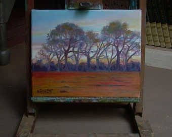 """Small painting, """"Glorious Sky"""", rural, farm, landscape, golden, trees, sunset, country"""