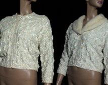 Sequined 1950s Sweater Iridescent Seqins Mad Man Garden Party Rockabilly Retro Femme Fatale Heiser Mink Collar