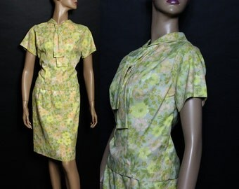 Vintage 1950s Dress Suit Outfit Floral Rockabilly Garden Party Mad Man Couture Pinup Bombshell Cocktail Femme Fatale Hourglass Wiggle