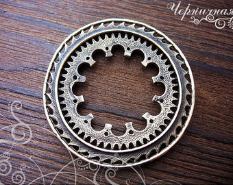 Ring circle round brass jewelry findings L14133(1), instrument, steampunk equipment, technology. Designed and made by Anna Bronze.