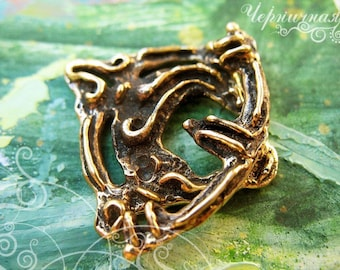 """Brass Toggle Clasp. Aged Antique Handmade Findings Brass.(L0123(1)""""Arkaim"""" collection"""