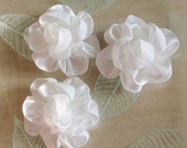 3 Handmade Ribbon Flowers  (2-1/4 inches) In White MY-260 -05 Ready To ship