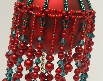 Pattern Beaded Christmas Ornament Cover - Boughs of Holly