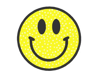 Happy Face Applique Embroidery Machine Design