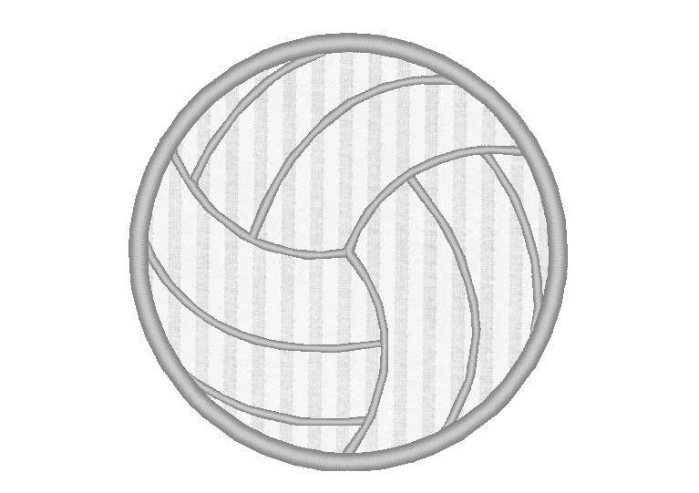 Volleyball applique embroidery machine design