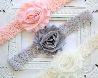 Lace Headband Set - Ivory Lace Headband, Gray Lace Headband - Blush Pink Peach Headband - Shabby Headband Set - Baby Newborn Headband