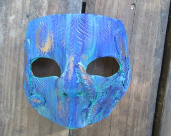 Peacock Costume mask, Mardi Gras Mask, one of a kind, Masquerade ball, hand painted, peacock feathers, blue purple gold
