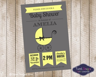 BABY SHOWER Invitation, Printable Baby Shower Invitation, Girl or Boy Baby Shower Invitation, Vintage Lemon Pram Baby Shower Invitation