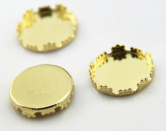 12 pcs of crown edge setting for 20mm cameo-7535-18k gold