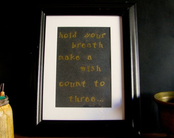 Framed Quote from Willy Wonka and the Chocolate Factory Embossed Gold and Black