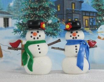Wee Snowman Christmas Ornament OOAK fairy garden cake topper Handmade
