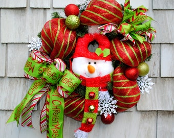 Christmas Wreath for the Door Snowman Red White Green Deco Mesh on Evergreen 18 inch Base Triple Layered Ribbon