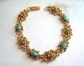 Vintage Florenza Bracelet Green Stones Gold Filigree Bracelet Renaissance Revival Bracelet Green Cabachons Florenza Bracelet