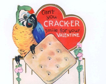 SQUAWK Polly Wants A Valentine - Vintage Die-Cut Embossed German Valentine's Day Card Featuring A Parrot
