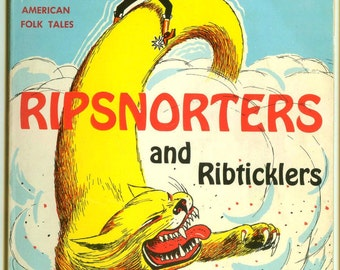 Ripsnorters & Ribtcklers Famous American Folk Tales Vintage Scholastic Book for Kids Humor Illustrated Tall Tales Paperback